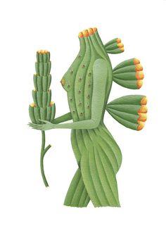 From the series: Femina Plantarum, Acrilic paint on paper. From the series: Femina Plantarum, Acrilic paint on paper. From the series: Femina Plantarum, Acrilic paint on paper. From the series: Femina Plantarum, Acrilic. Agaves, Nature Illustration, Botanical Illustration, Botanical Art, Cactus Art, Unusual Art, Painting Gallery, Paper Artist, Green Art