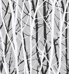 Wallpaper Metallic Silver Background w Black & White Tree Silhouettes Branches