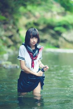 Thailand and German quarter pretty girl Rarumu who is invisible to junior high school students playing in the sailor suit. School Girl Fancy Dress, School Uniform Girls, Girl In Water, Uzzlang Girl, Japan Girl, Kawaii, Summer Outfits Women, Beautiful Asian Women, Cosplay Girls