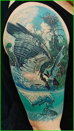 totally bad ass tattoo bird fish hunting wildlife
