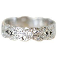 Vintage carat diamond 14 karat white gold floral milgrain band, circa for sale Art Deco Wedding Rings, Beautiful Wedding Rings, Gold Diamond Wedding Band, Diamond Bands, Diamond Cuts, Wedding Jewelry, Black Diamond, Jewelry Box, Jewellery