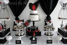 Roaring 1920's Black, White and Red Dessert Table | CatchMyParty.com