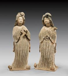 "TANG POTTERY COURT LADIES Pair of unusually large and finely modeled, Chinese Tang Dynasty painted pottery figures of court (""fat lady"") beauties: each in draped conforming robes and with stylized hairdos; one with finely featured hands gesturing; the other cradling a small dog with hands hidden in sleeves, one slightly taller than the other (usual repairs); H: 32"" (taller); with C-Link Research & Development TL Test Reports: # 179TL08 and 6236UA08"