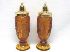 Tiara Amber Sandwich Glass Salt & Pepper Shaker Set in Pottery & Glass, Glass, Glassware | eBay