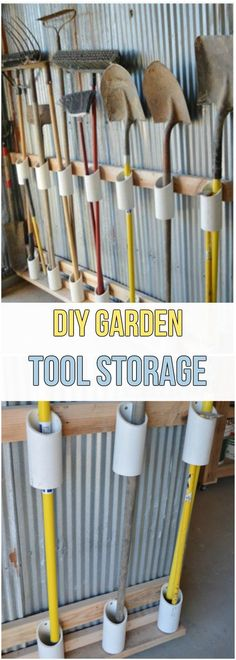 Not waste time and cash and prevent locating the gardening tools you misplace if you attempt one of these simple clever DIY Garden Tool Storage Ideas! Garden Tool Organization, Garden Storage Shed, Outdoor Storage Sheds, Garage Organization, Organizing Ideas, Garage Storage Shelves, Outside Storage, Yard Tools, Tool Sheds