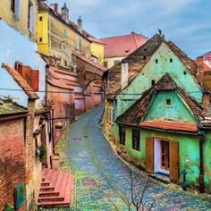 Colorful streets in Sibiu, Romania. Places Around The World, Oh The Places You'll Go, Travel Around The World, Places To Travel, Places To Visit, Travel Destinations, Bósnia E Herzegovina, Visit Romania, Romania Travel
