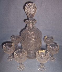 ROYAL KENDALL cut GLASS DECANTER,goblet lead crystal