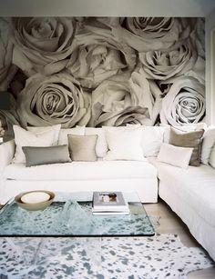 wallpaper in white roses blue rug white interior