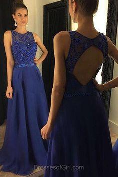 Royal Blue Prom Dresses, Open Back Prom Dress, Chiffon Evening Dresses, Aline Party Dresses, Tulle Formal Dresses