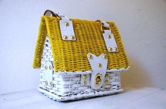 Vintage 1960s Yellow and White House Basket Purse. $42.00, via Etsy.
