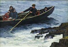 "John Skelton d.2009 Artist, Painting Title: ""A Full Currach, Inismor, Aran Island"""