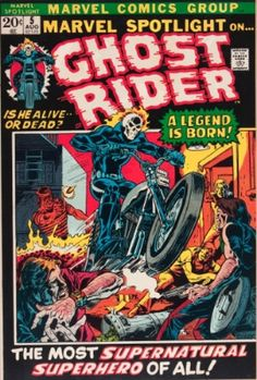 Ghost Rider comic is an unlikely Marvel Comic superhero. FInd out what the comic books are worth, including the first appearance in Marvel Spotlight Marvel Comic Books, Comic Book Characters, Comic Character, Comic Books Art, Book Art, Marvel Characters, Hulk Comic, Disney Characters, Valuable Comic Books