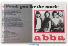 """Song lyrics to Abba's """"Thank You For The Music"""" which I think was originally published in Smash Hits in the UK... #Abba #Agnetha #Frida #SmashHits http://abbafansblog.blogspot.co.uk/2016/11/abba-song-lyrics.html"""