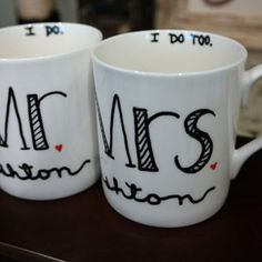 Mr and Mrs Coffee Mugs, Wedding Gift, Anniversary Gift, Newlyweds, Wedding Registry, Engagement Gift, Couples Shower, Bridal shower gift