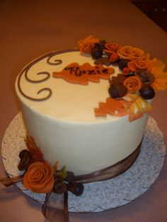 A fall birthday cake, with white cho cream cheese icing and cho fudge acorns and molded roses Fall Theme Cakes, Fall Birthday Cakes, Fall Birthday Parties, Fall Cakes, Themed Cakes, Cake Cookies, Cupcake Cakes, Cupcakes, Fudge