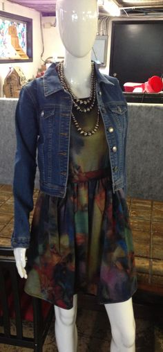 Ark & Co dress paired with a denim jacket. A fall must have!!! $56.99