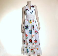 60s Iconic Mexican embroidery and lace maxi by TreeofLifeEclectica, $168.00