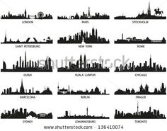 Vector silhouettes of the worlds city skylines by Jktu_21, via Shutterstock
