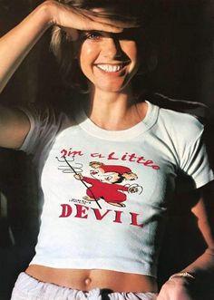 Olivia Newton John rocking a' I'm a little devil shirt' Young Celebrities, Celebs, Olivia Newton John Grease, Tv Girls, Farrah Fawcett, John Travolta, Music Photo, Stevie Nicks, Female Singers
