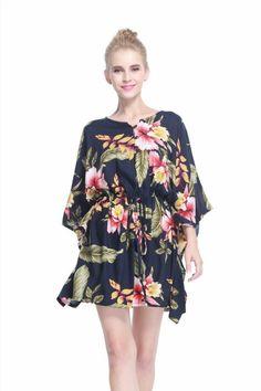 964703e9dab6 Poncho Dress Top Luau Tropical Cruise Hawaiian Tie Beach Plus Size Black  Rafelsi