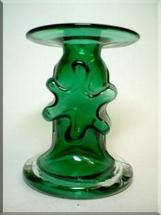 Riihimäen Lasi Oy / Riihimaki green glass 'Kasperi' candlestick holder by Erkkitapio Siiroinen, design number 1966