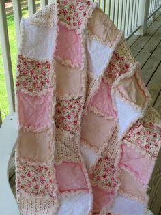 Shabby Chic Rose Patchwork Rag Crib Quilt,