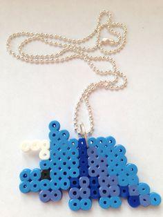 Perler Bead Blue Dinosaur Necklace