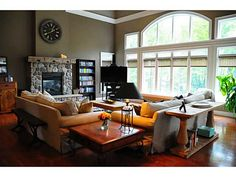 Great Room with Spectacular Views Carlisle Homes, Cathedral Windows, Beautiful Homes, House Beautiful, Luxury Real Estate, Great Rooms, My Dream Home, Ontario, Corner Desk