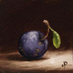 Little Damson, J Palmer Original oil still life mini Art