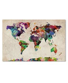 Possible back-drop to All Those Who Wander Are Not Lost quote  'Urban Watercolor World Map' Canvas Print by Michael Tompsett