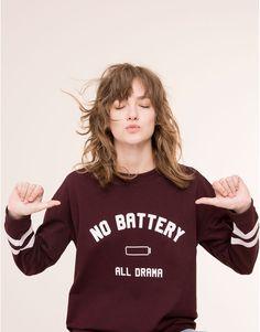 Pull&Bear - woman - sweatshirts - slogan sweatshirt - burgundy - 09592334-I2015