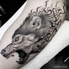 WEBSTA @ mattwmurray - did this wolf on one of my oldest pals @benjaminwarreng