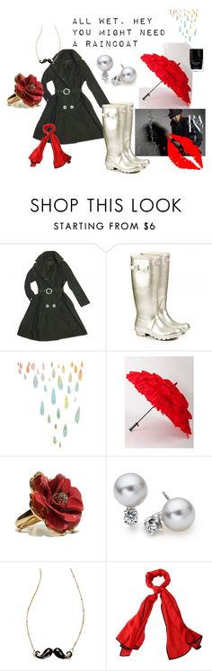 """""""All Wet"""" by gwyn-astrid ❤ liked on Polyvore featuring George Simonton, Hunter, American Apparel, Blue Nile, River Island, Butter London, cocktail rings, wellington boots, trench coats and scarves"""