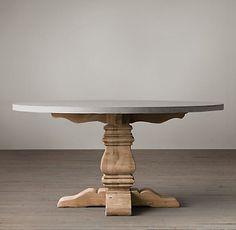 Salvaged Wood & Weathered Concrete Trestle Rectangular Table | Restoration Hardware