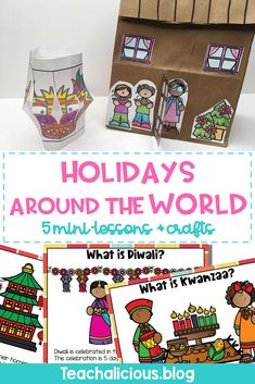 Kids learn about different cultures and traditions in 5 other countries with these simple mini-lessons. Students complete fun activities/ crafts for each holiday. Perfect for kindergarten and first grade.