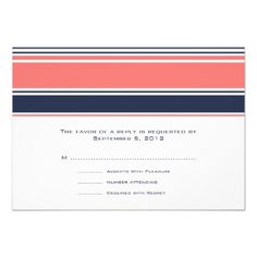 Pink and Blue Modern Stripes Wedding RSVP Invite