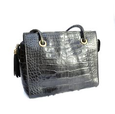 Authentic BALLY Shoulder Bag With Tassel Croc Embossed Leather - Vintage 15a4151476