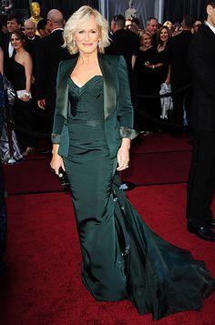 Glenn Close  Albert Nobbs actress Glenn Close swapped her standard black for an emerald-green Zac Posen dress with train and matching tuxedo jacket.