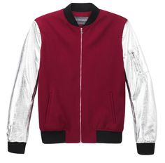 Antipodium - Clandestiny Jacket in Wine with Silver Leather Sleeves