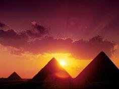 Sunset Giza Pyramids Egypt HD Wallpaper