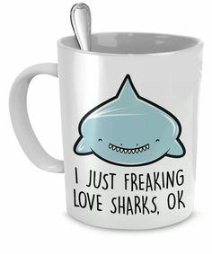 Cup every shark lover should have:) Shark Bait, Shark Shark, Shark Plush, Coffee Cups, Tea Cups, Save The Sharks, Cute Mugs, Funny Mugs, Great White Shark