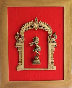 Exquisite Framed Brass Prabhavali On Red Raw Silk With Lord Krishna. Frame - Height 45 cm x Width 35 cm - theindianweave Mirror Photo Frames, Frames On Wall, Wall Mirror, Lord Krishna, Vintage Diy, Vintage Home Decor, Antique Decor, Vintage Market, Painted Bedroom Furniture