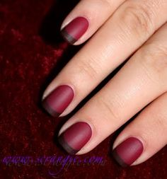 French manicure with brown and red polish