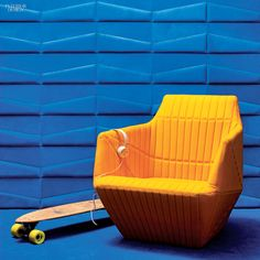 Leatherwall tiles in leather by Studioart. Trapzium tiles! Italian Design #leather #design #architecture