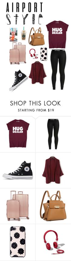 """""""Airport style 🤓😴"""" by fairy2001 ❤ liked on Polyvore featuring Converse, WithChic, CalPak, ZAC Zac Posen, Kate Spade and Abercrombie & Fitch"""
