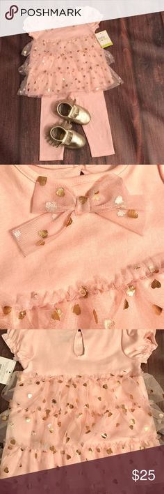 Pink Tulle outfit and mocassins Brand new pink tulle 2- piece outfit and gold leather mocassins. Mocassins have been lightly used and are in very good condition. 9 months outfit and mocassins are 6-9 months. Baby Starters Other