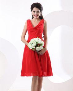 Chiffon Pleat Knee Length Bridesmaid Dress