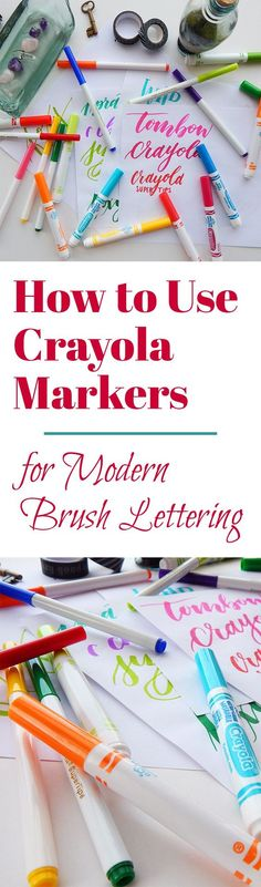 Everyone remembers Crayola markers from elementary school, but did you know they can be used for modern brush lettering? These cheap little markers can provide an excellent starting point for novices and a fun experiment for experts. Crayola Calligraphy, Calligraphy Letters, Modern Calligraphy, Calligraphy Lessons, Calligraphy Pens For Beginners, Calligraphy For Kids, Calligraphy Markers, Hand Lettering For Beginners, Calligraphy Doodles