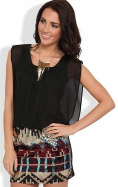 Deb Shops Blouson Dress with Gold Sequin Tribal Print Bodycon Skirt $40.00
