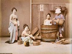 Three women taking a bath. by Raimond von Stillfried, about 1875